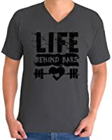 Awkward Styles Men's Life Behind Bars V-neck T shirt Tops Black Gym Lifting Workout