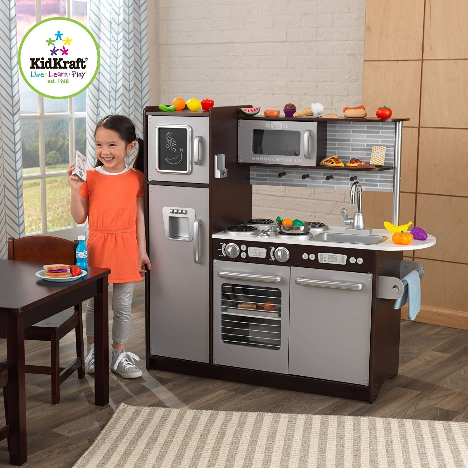 Merveilleux Amazon.com: KidKraft Uptown Espresso Wooden Play Kitchen With 30 Piece Play  Food Set: Toys U0026 Games