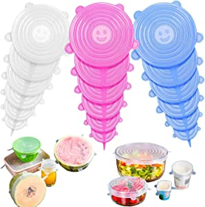 OBSGUMU 18Pack Silicone Stretch Lids,Zero Waste and Reusable Silicone Stretch Covers.Food Cover for Bowls, Cans, Cups, Pots, Fruits and Different Sizes & Shapes of Container, Keep Food Fresh.