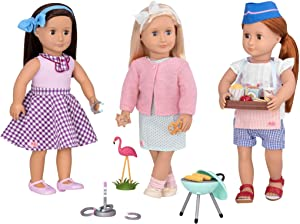 Our Generation- Garden Party BBQ- Flamingo Party, Accessory Set for 18 inch Dolls- for Girls Ages 3 & Up