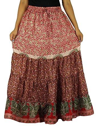 Indianbeautifulart Sari Craft Larga de Seda Pura Acampanado ...