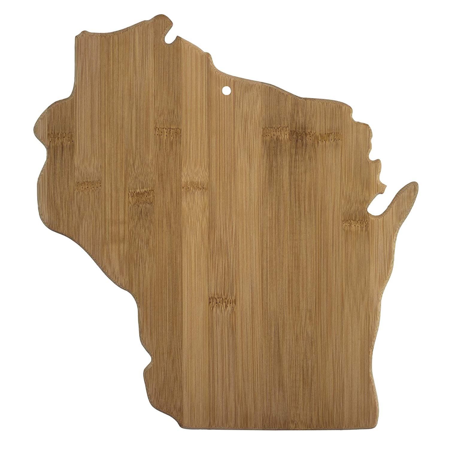 Totally Bamboo 20-7952WI Wisconsin State Shaped Bamboo Serving & Cutting Board,