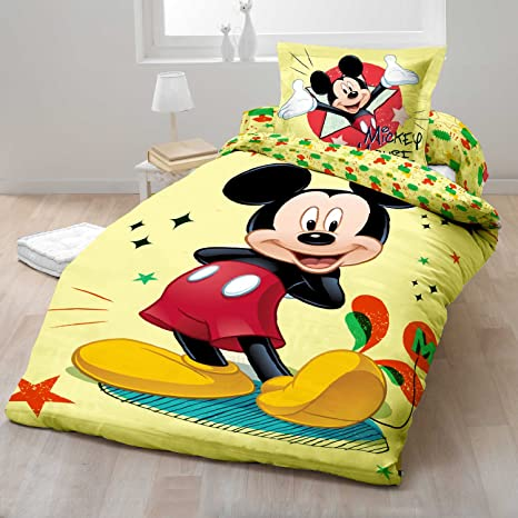 Sacco Copripiumino Singolo Disney.Sacco Copripiumino Cotone Disney Mickey Mouse Topolino Singolo
