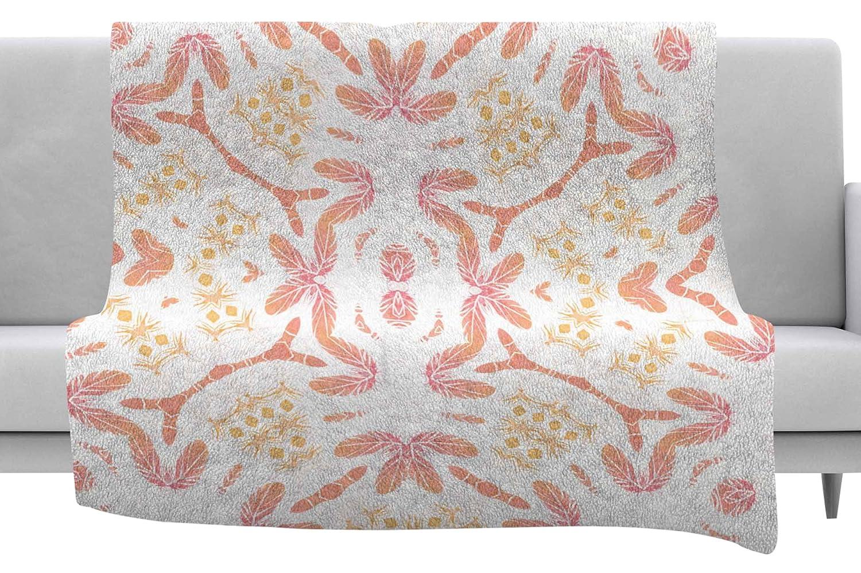 Kess InHouse Alison Coxon Aztec Feather Coral White Throw 40 x 30 Fleece Blanket