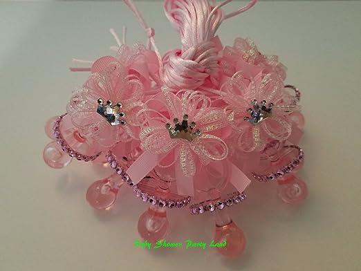 Amazon.com: 12 Princesa Rosa Corona Collar de chupete Baby ...