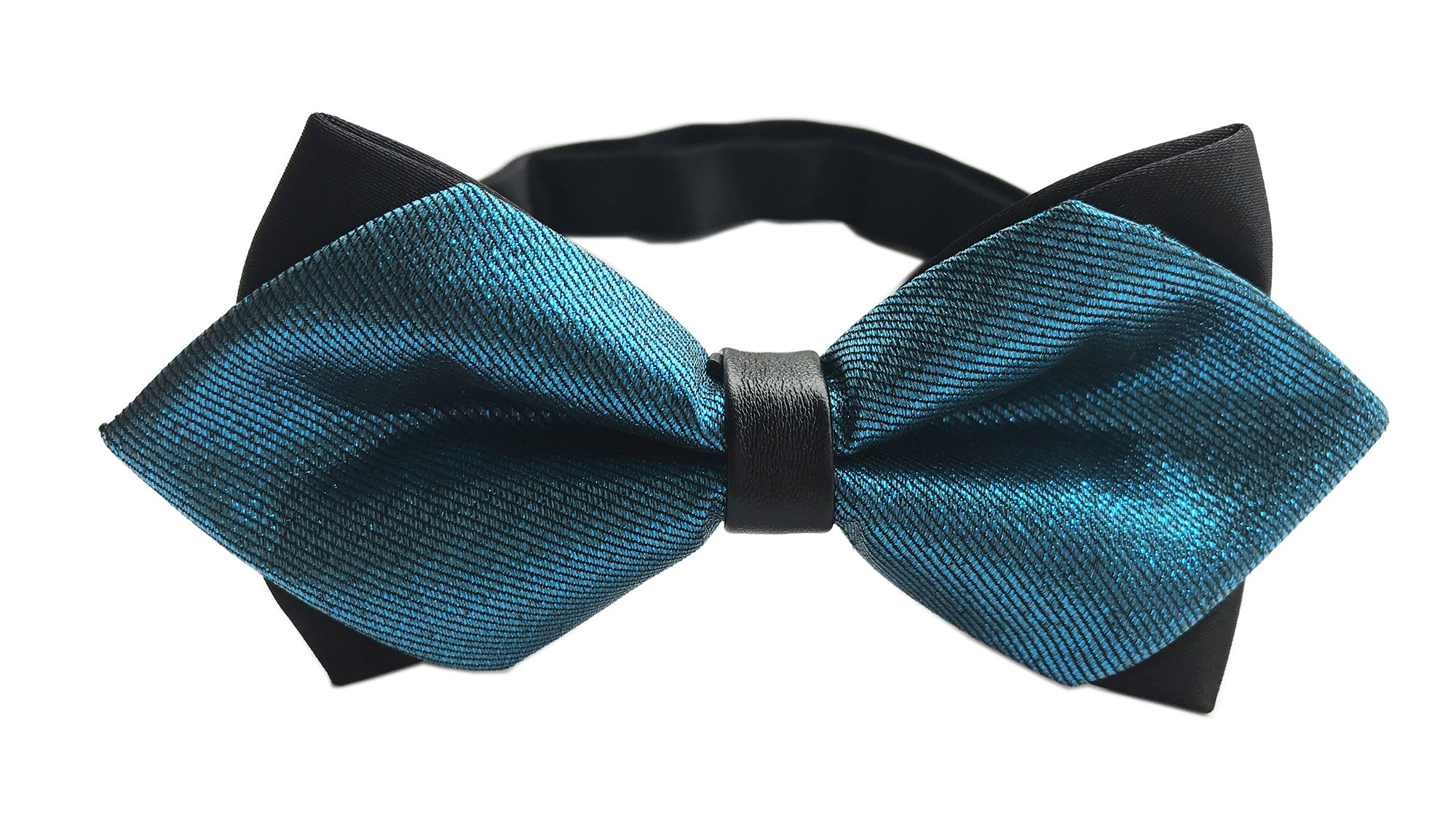Boys Mens Modern Tuxedo Turquoise Bow Ties With Skinny fine Stirpe Shiny Bowties