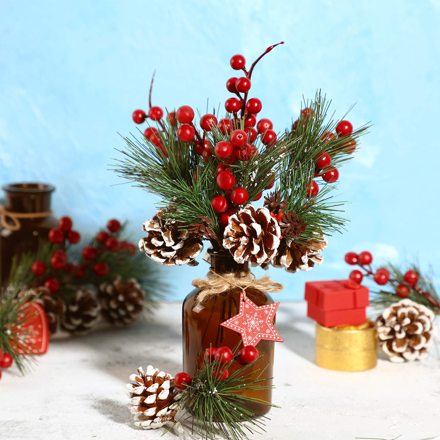 Artificial Pine Pick Artificial Pine Tree Decorations Fake Pinecone Red Berries Branches for Christmas Flower Arrangements Wreaths and Holiday Decorations 10 Pieces