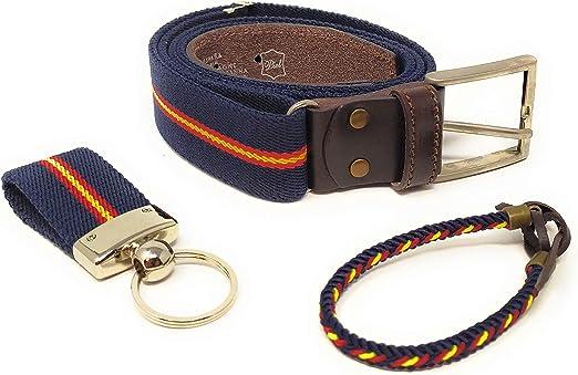 GOS Set Cinturón Hombre Ajustable | Pulsera | Llavero (Color 1 ...