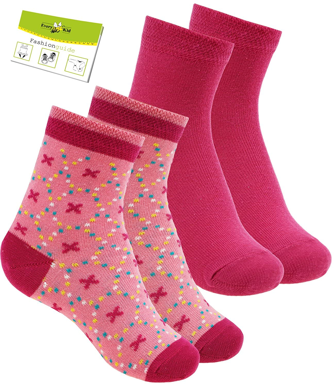 EveryKid Ewers 2er Pack Mädchensocken Sparpack Sommersocken Socken Strümpfe Söckchen uni gemustert für Kinder (EW-201004-S17-MA1) inkl Fashionguide