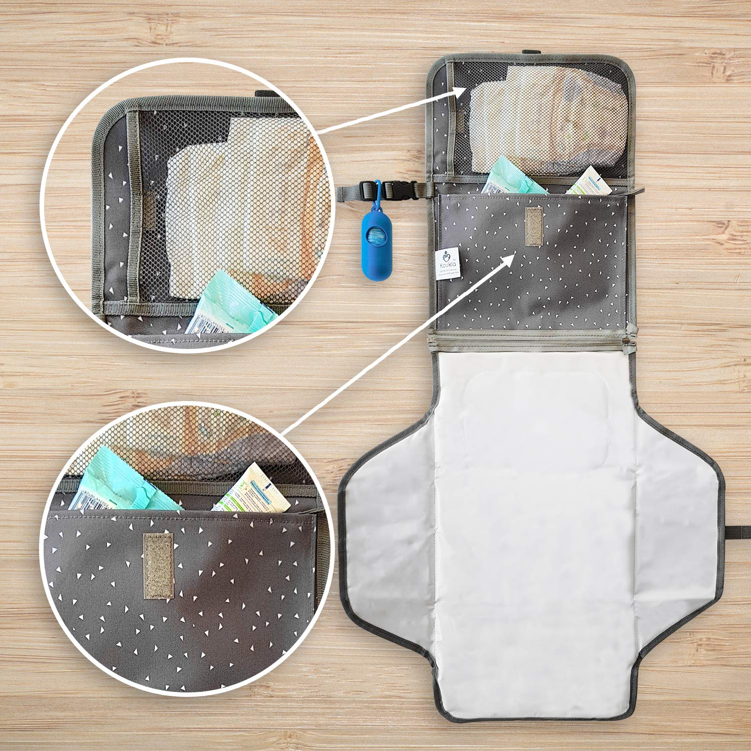 Portable Diaper Changing Pad Clutch Baby Changing Station with Disposable Dirty Diaper Bags and Dispenser Extra Head Cushion Great for Travel Lightweight Pockets for Diapers Wipes Cream Easy to Clean by Koukla (Image #7)