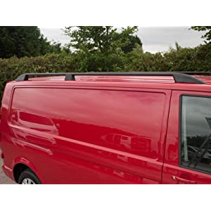 Black Aluminium Roof Rails Pair Roof Bars for VW Transporter T6 (2015 on) [LWB]