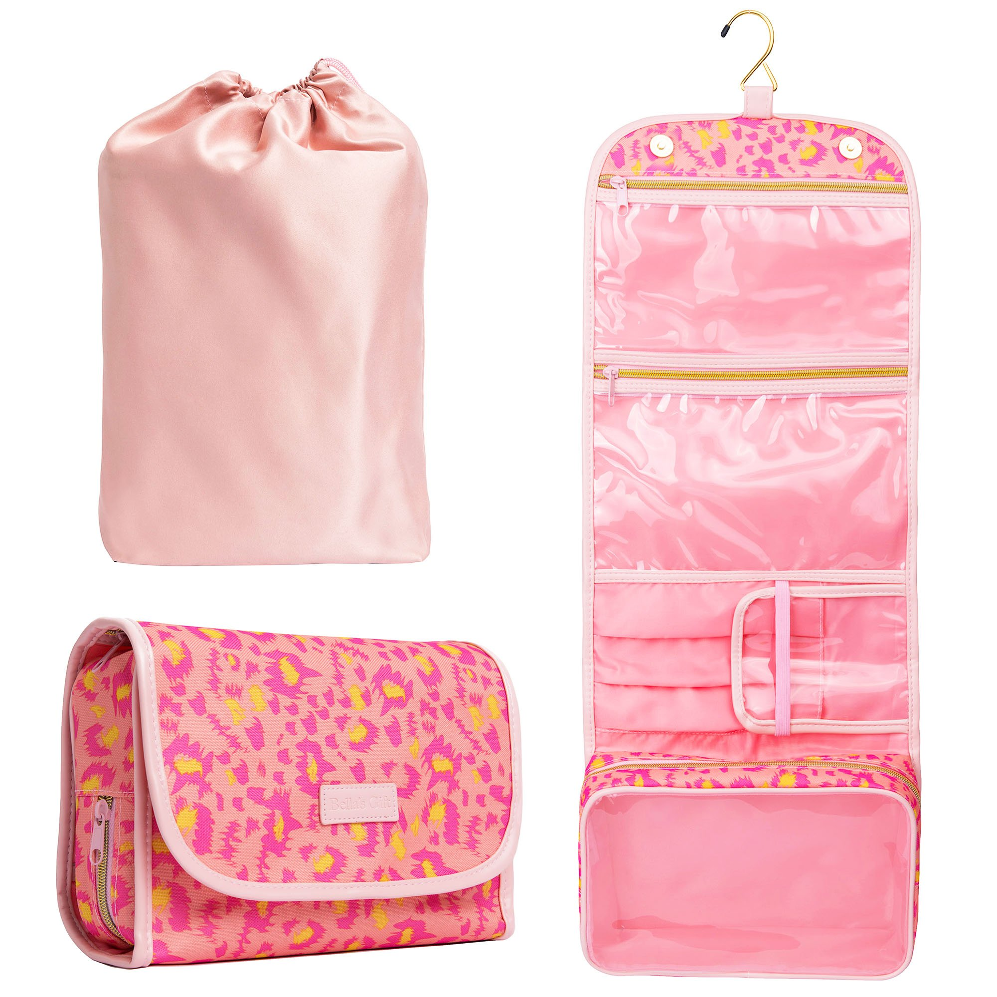 Hanging Toiletry Bag - TSA Approved Travel Kit for Women - Flat Makeup Case - Compact Cosmetic Essentials Pouch - Waterproof Organizer with Sturdy Hook - Dopp with Clear Compartments - Premium Quality