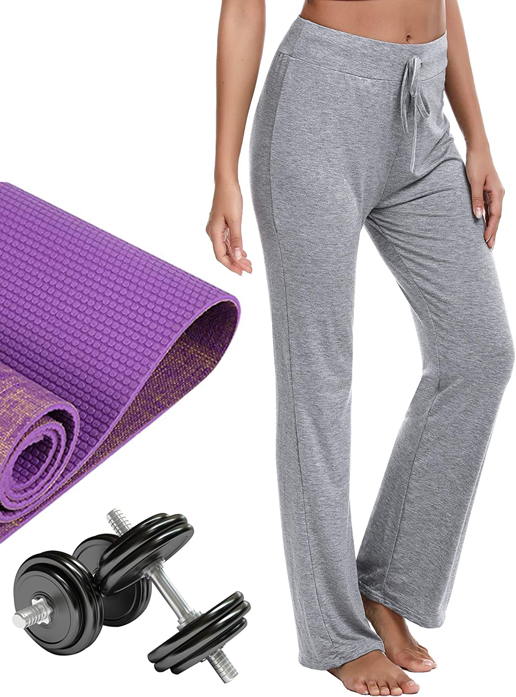 Casuales Chandal Deportivo Verano,para Pilates Jogger Fitness Irevial Pantalones de Yoga para Mujer Modal,100/% Algodon,Alta Cintura El/ásticos pantal/ón de Campana con cord/ón