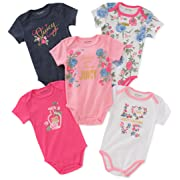 Juicy Couture Baby Girls 5 Packs Bodysuit, Pink/Navy/White, 0-3 Months