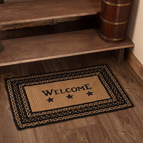 Classic Country Primitive Flooring – Farmhouse Jute Black Stenciled Welcome Rug, 1 8 x 2 6