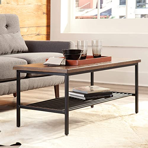 OFM 161 Collection Industrial Modern Wood Top Metal Frame Coffee Table with Metal Shelf, in Black Walnut