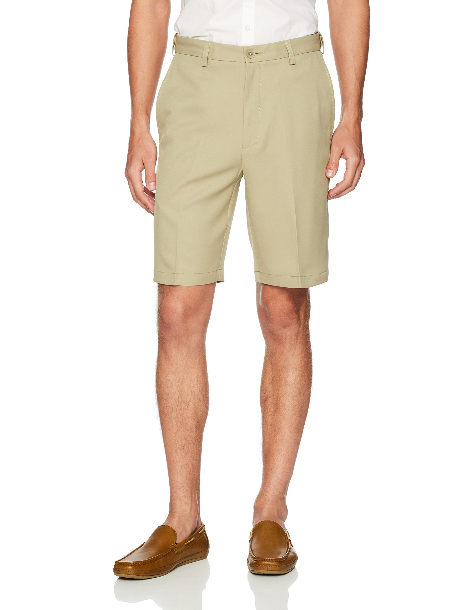 Haggar Men's Cool 18 Pro Straight Fit Stretch Solid Flat Front Short, Khaki, 36