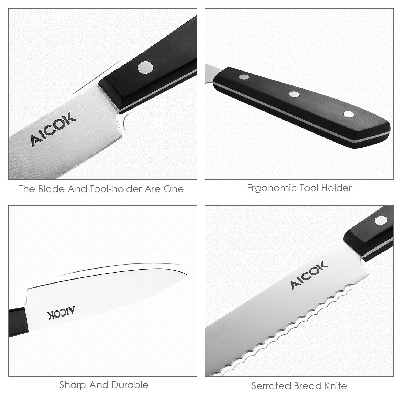 Aicok cuchillos, set de cuchillos de acero inoxidable con soporte de madera. Incluye 6 cuchillos diferentes, una tijera, un afilador y un soporte de ...