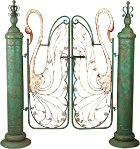 Design Toscano FU76162 Swan Serenade Entryway Metal Garden Gate, Full Color