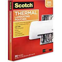 $27 » Scotch Thermal Laminating Pouches, 200-Pack, 8.9 x 11.4 Inches, Letter Size Sheets, Clear, 3…