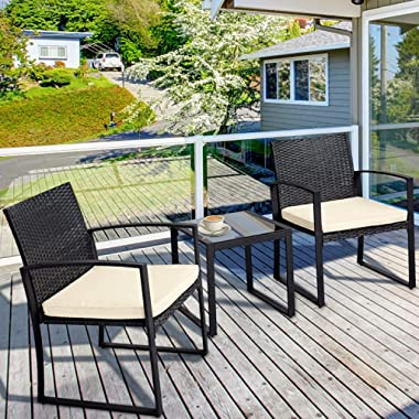 Outroad Balcony Table and Chair 3 Piece Wicker Patio Bistro Set Porch Garden Furniture Black