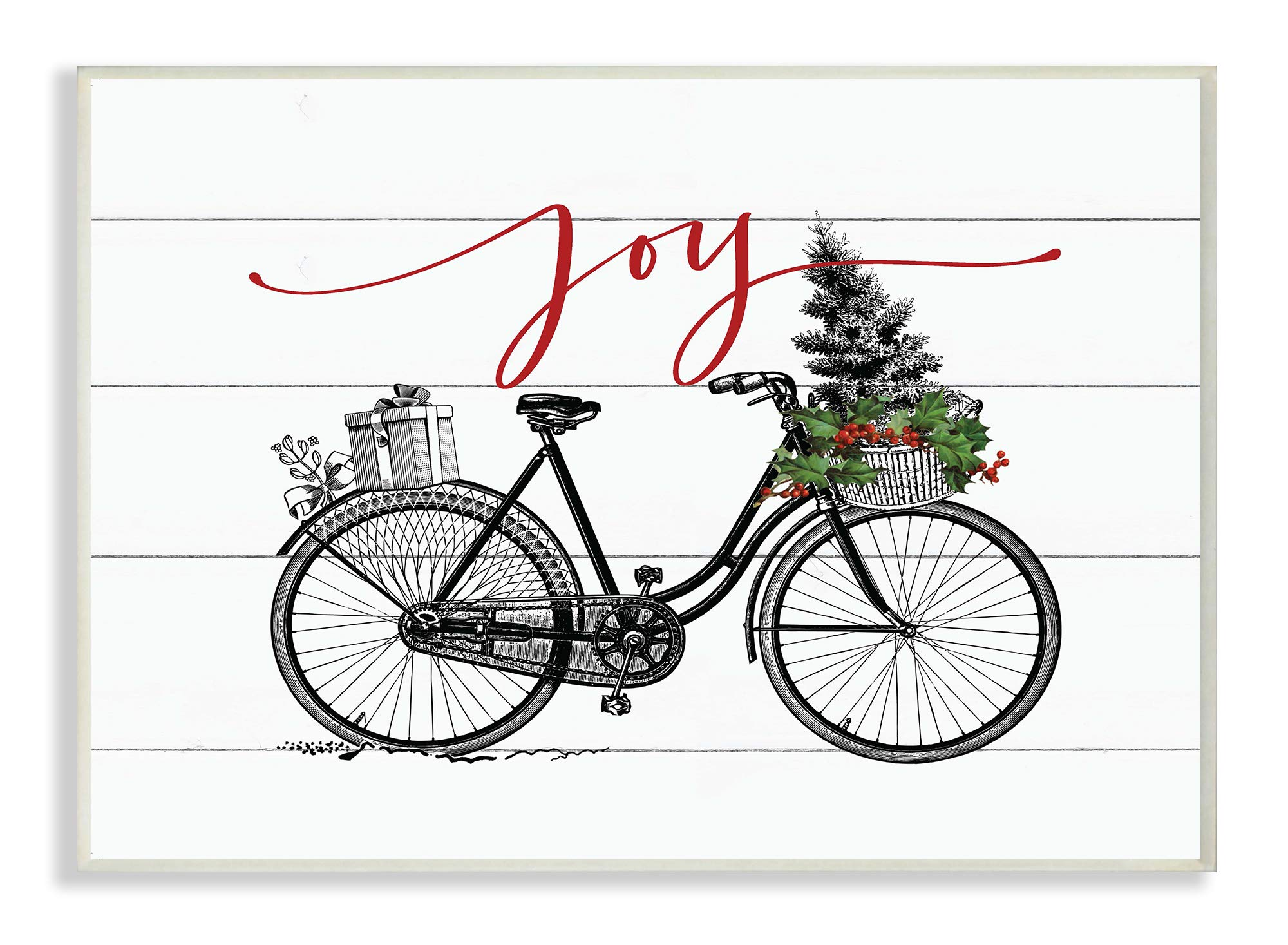 The Stupell Home Décor Collection White Planked Look Holiday Joy Bicycle with Tree and Gifts Wall Plaque Art, Multi-Color