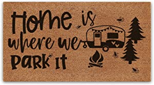 BasicForm Camping Rug, Pure Coco Coir Decor Doormat for rv Campers, Camp Accessories for Inside Decor,17'x30' Size, Home is Where we Park it
