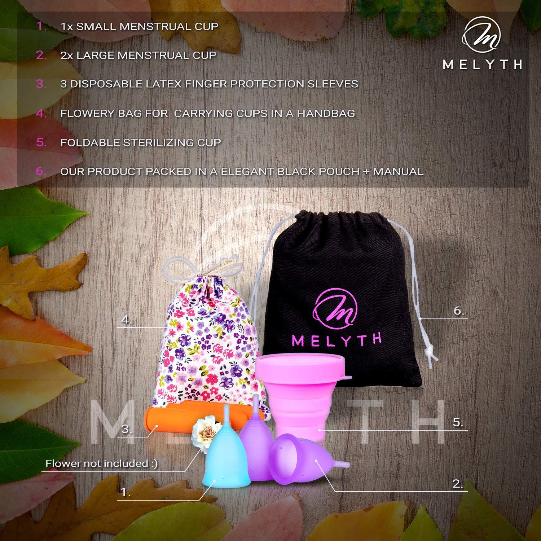 Melyth 3 Copas Menstruales (2 Grandes y 1 Pequeñas) - Gratis Taza Plegable Reutilizable - Encuentra La Que Mejor Se Te Ajusta - La Mejor Alternativa a los ...