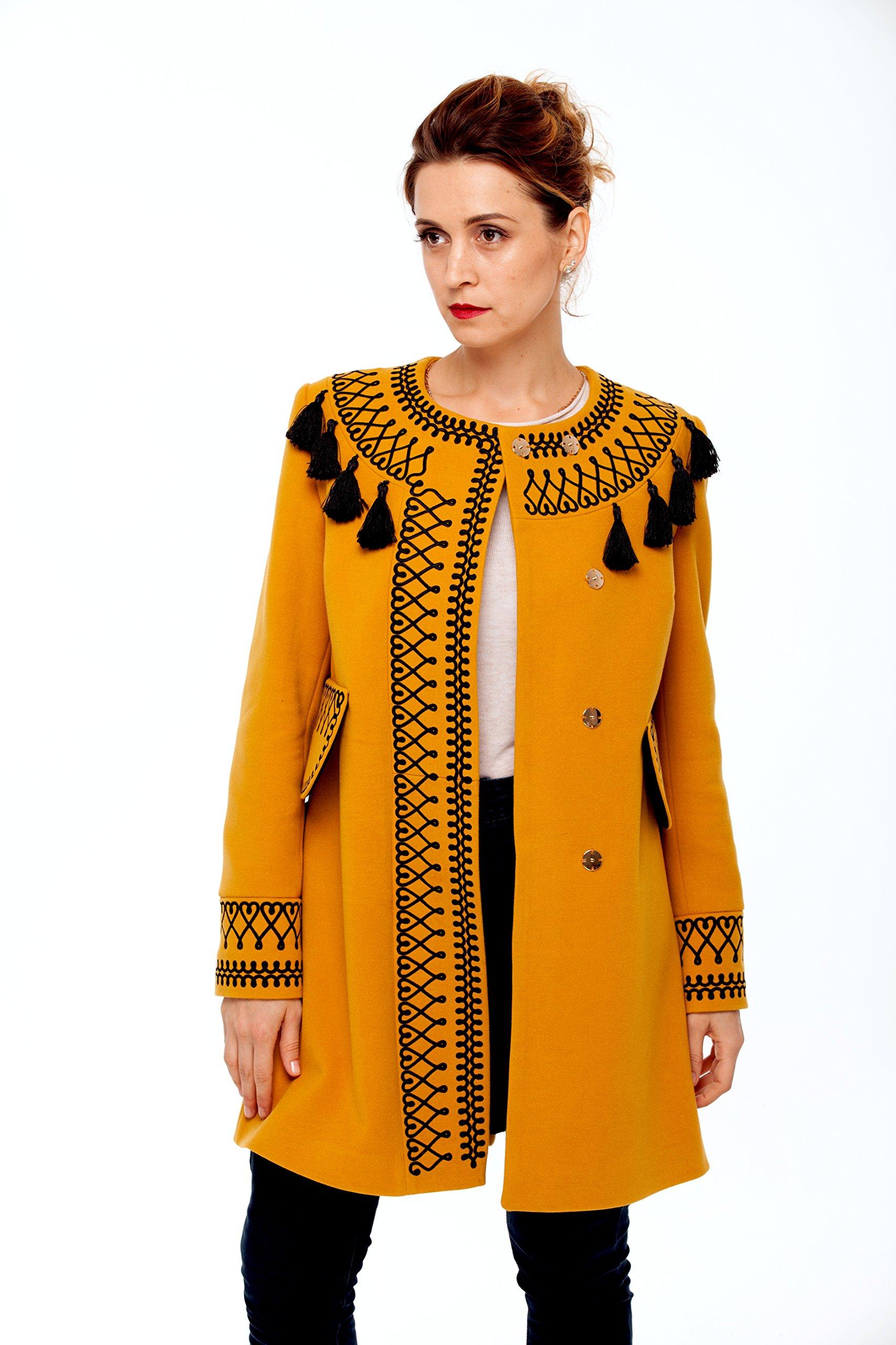 Women Designer Coats With Tassels Ocher! Embroidered Boho Style Coat! (M/L)