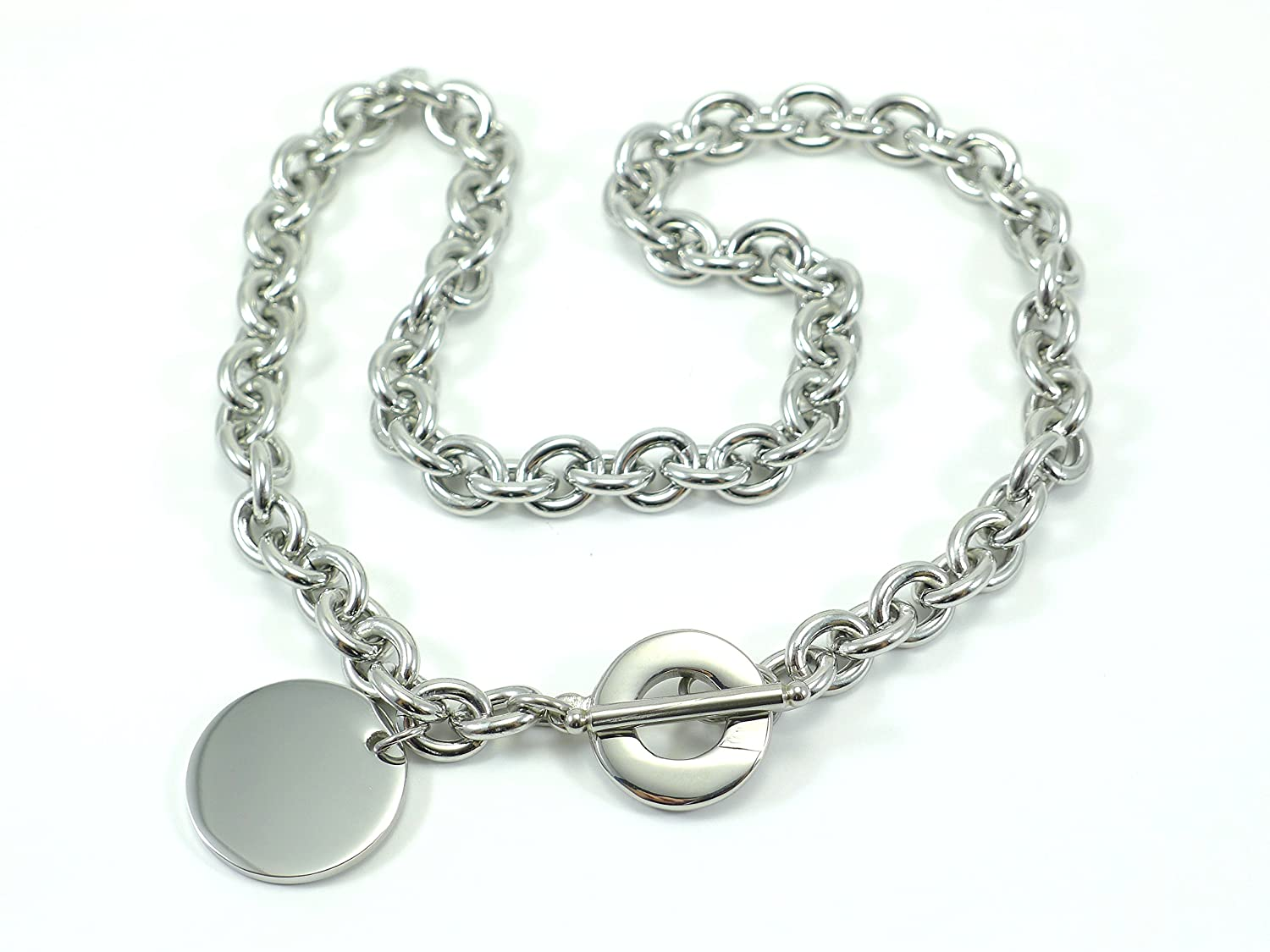 LADIES TOGGLE TAG LINK NECKLACE CHAIN STAINLESS STEEL 316L