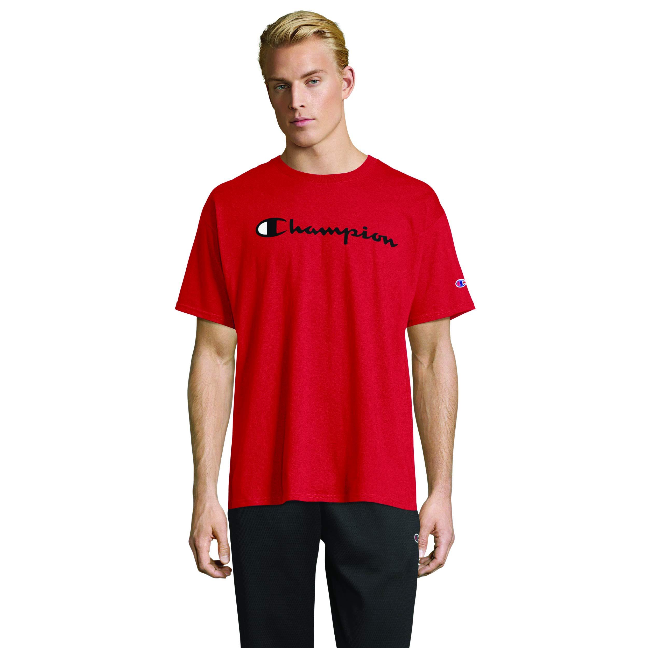 Champion Men's Classic Jersey Script T-Shirt, Scarlet, Medium