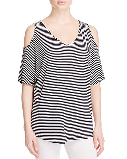 72d809f3cc61e Kim   Cami Women s Striped Cold Shoulder Tee in Ivory Dark Navy Blue (Large