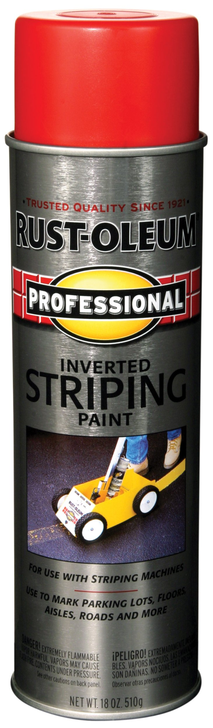 Rust-Oleum 211777 Professional Stripe Inverted Striping Spray Paint, 18 oz, Red