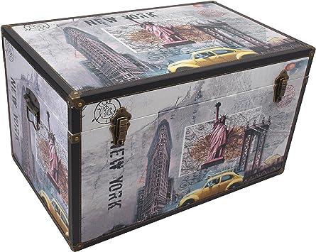 XL baúl New York 69 x 40,5 x 43 cm Caja de madera Cofre del Tesoro baúl Madera Cofre del Tesoro Caja para guardar – Baúl Caja Caja de madera Almacenamiento: Amazon.es: