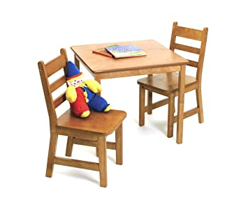 Lipper International 514P Childs Square Table And 2 Chairs Pecan Finish