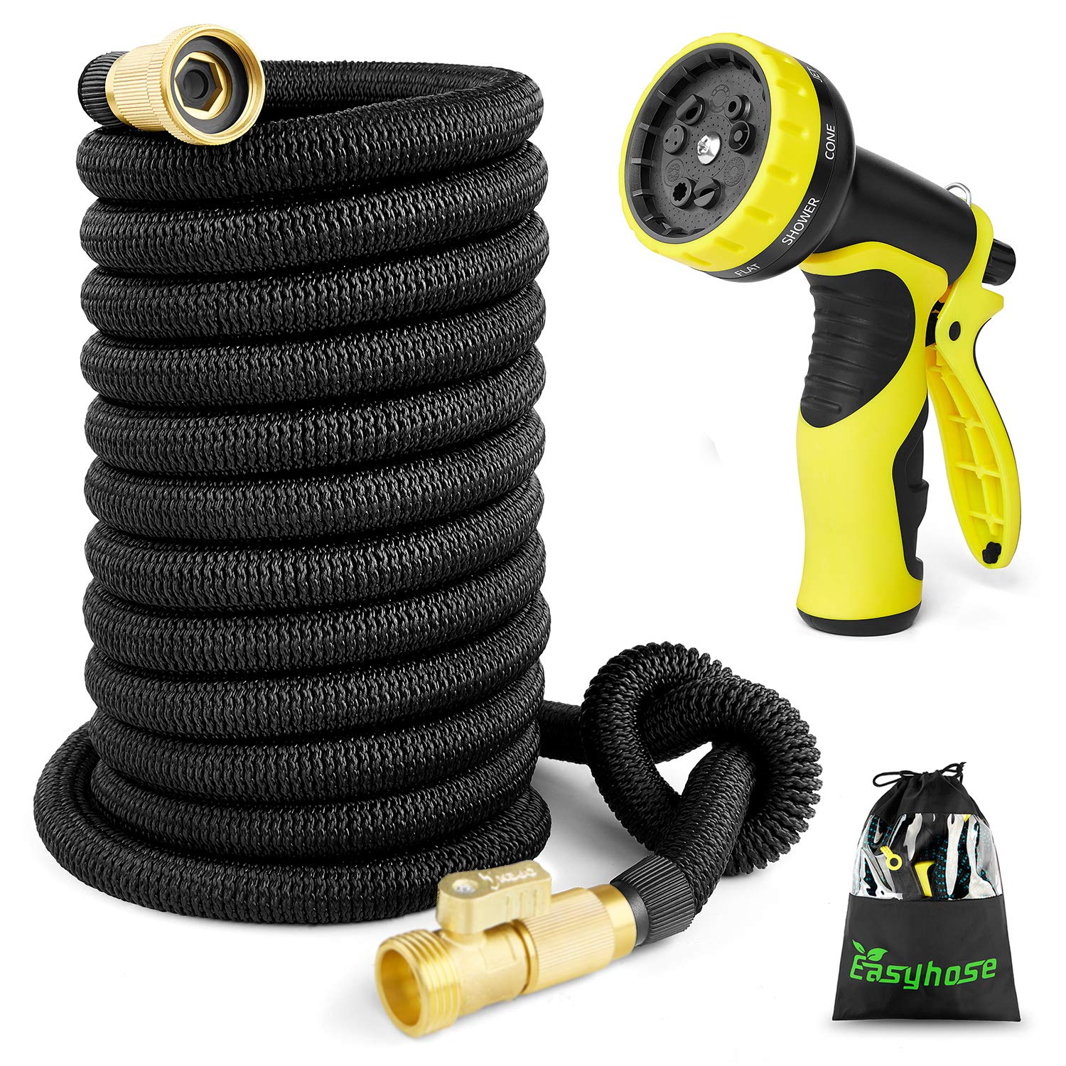 50ft Expandable Garden Hose, Expanding Water Hose with3/4 inch Strong Solid Brass Connector, Expandable Hoses with 9 Function Nozzle Flexible Garden Hose Prevent Leaking Strongest Outdoor Hose(Black)