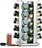 Orii GSR3421 Rivetto Jar Rotating Spice Rack, Steel with black caps