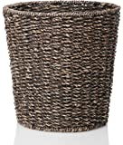 Waste Bin - Woven Waste Paper Basket for Bedroom, Kitchen, Bathroom or Office - Seagrass Trash Can - Versatile wastebasket for garbage and rubbish