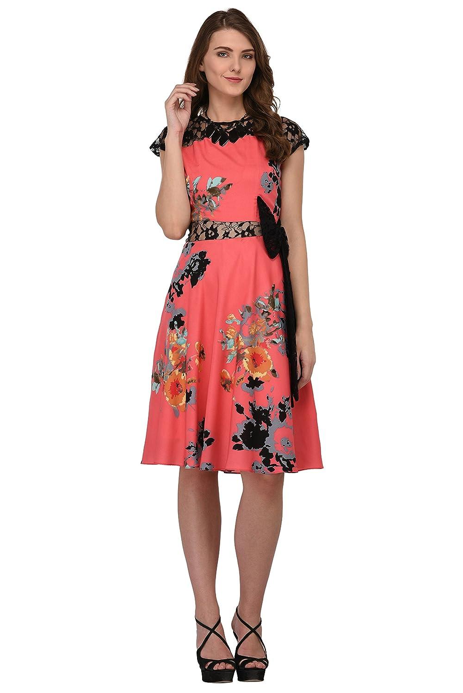8231e615f6cc Raas Prêt Women s Crepe Floral Printed Skater Dress (Pink