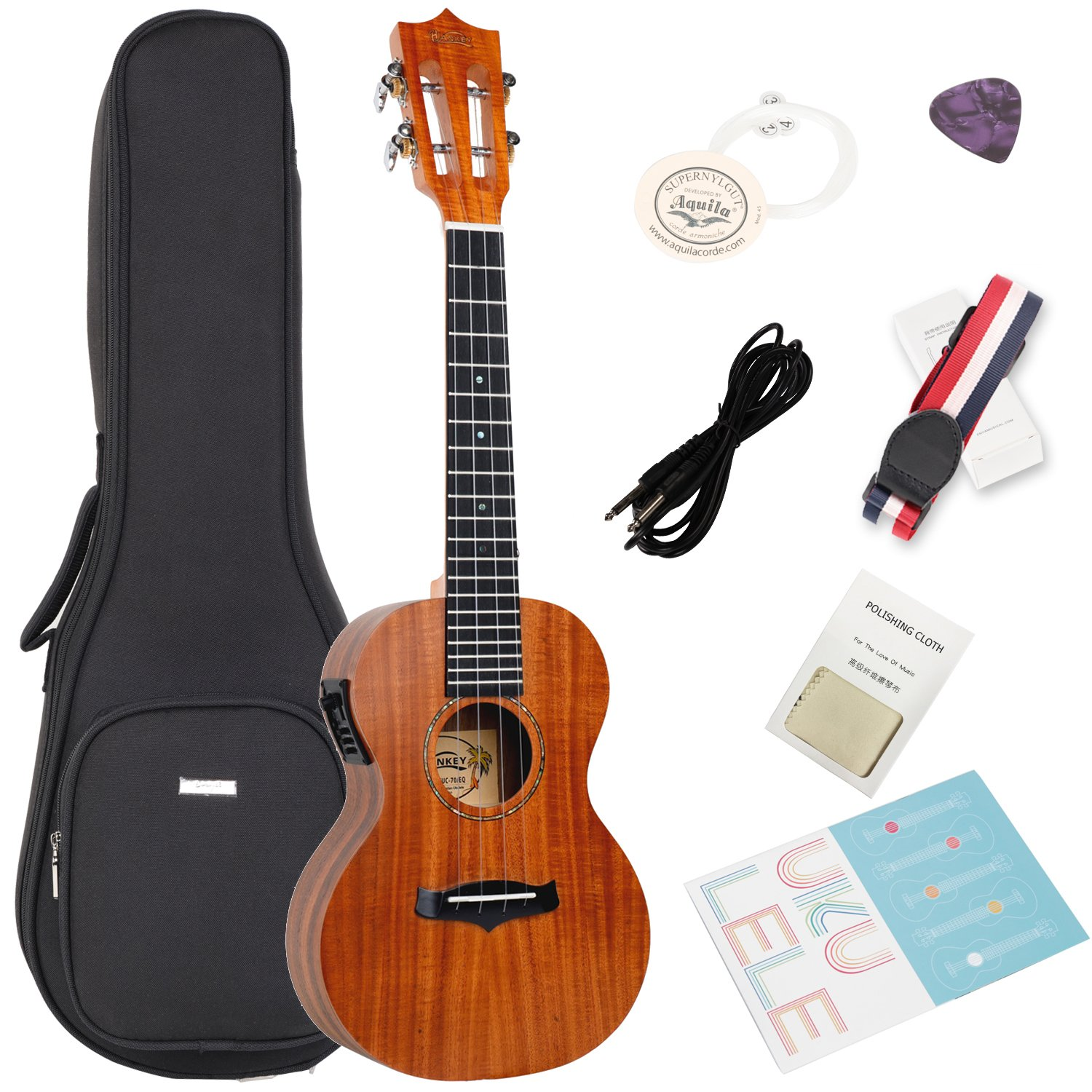 Acoustic Electric Concert Ukulele with Bag,Strap,Extra Aquila Strings,Polishing Cloth,2 Pins Installed,Instructional Book,By HANKEY KUC-70 EQ