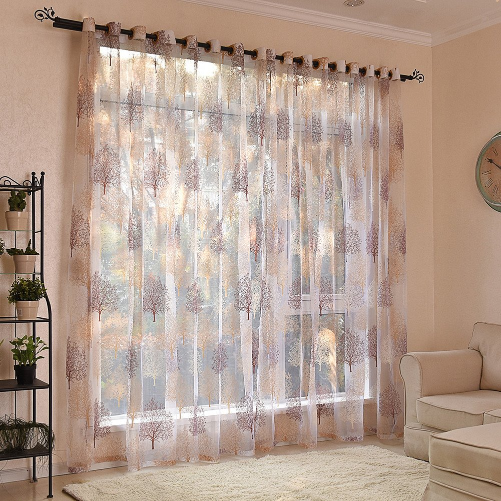 Floral Window Curtain, SHZONS Tulle Voile Door Window Curtain Drape Panel Scarf Sheer Valances for Home Living Room Decoration, 39.37×98.43 inch 39.37×98.43 inch