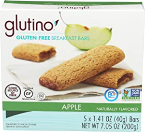 Glutino, Bar Breakfast Apple Wheat Free, 1.41 Ounce, 5 Pack