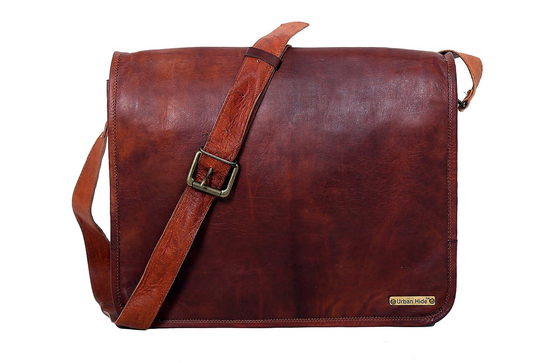 Urbankrafted Handmade Echtes Leder Vollklappe Messenger handgefertigte Tasche Laptop Tasche Messenger Bag Satchelv