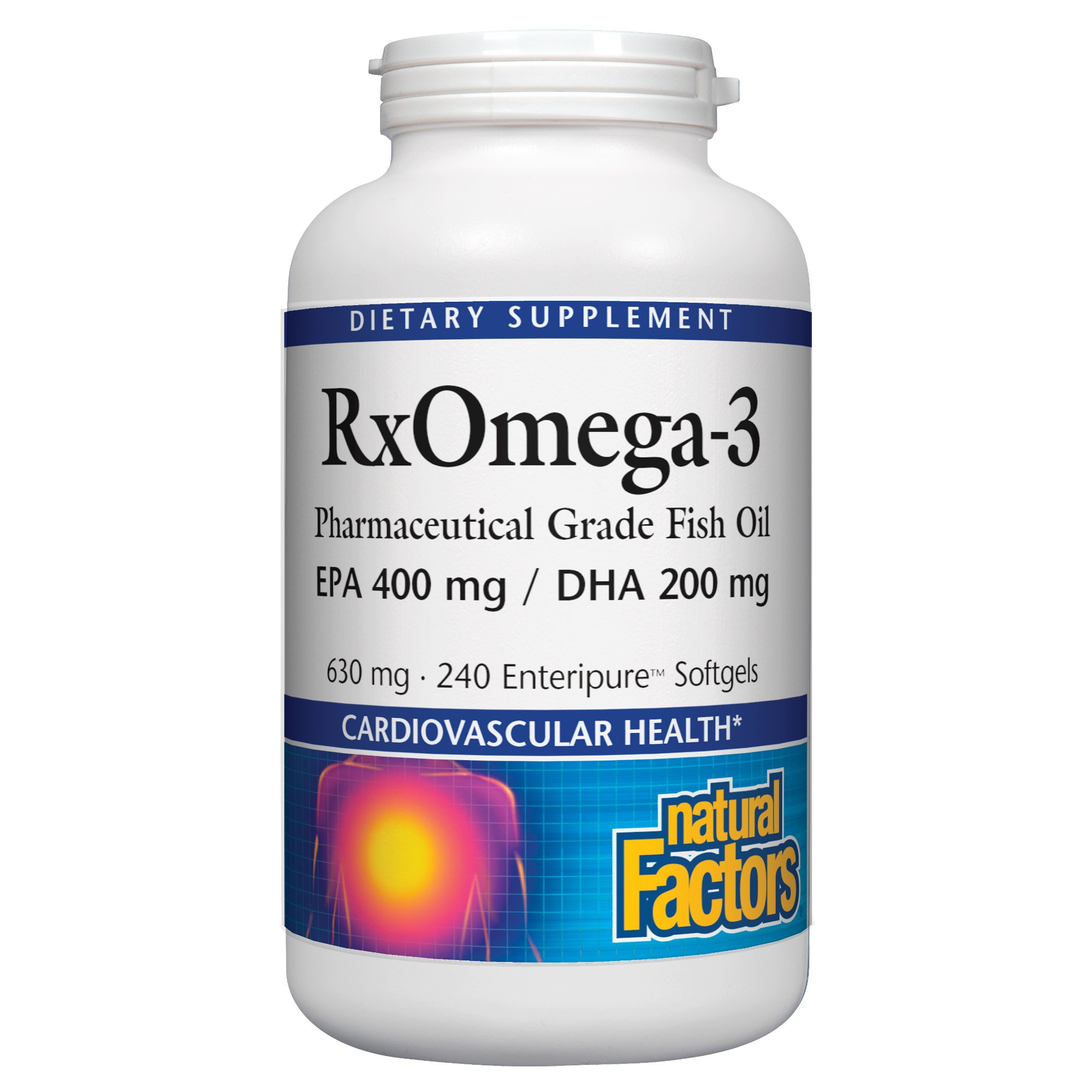 Natural Factors - RxOmega-3 EPA 400mg/DHA 200mg, Pharmaceutical Grade Fish Oil, 240 Soft Gels