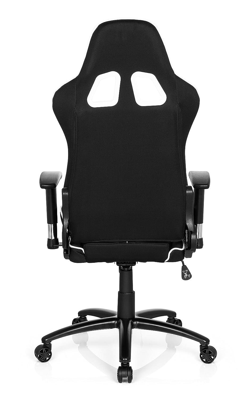 hjh OFFICE 729250 silla gaming LEAGUE PRO I tejido piel sintética negro / blanco silla escritorio: Amazon.es: Hogar