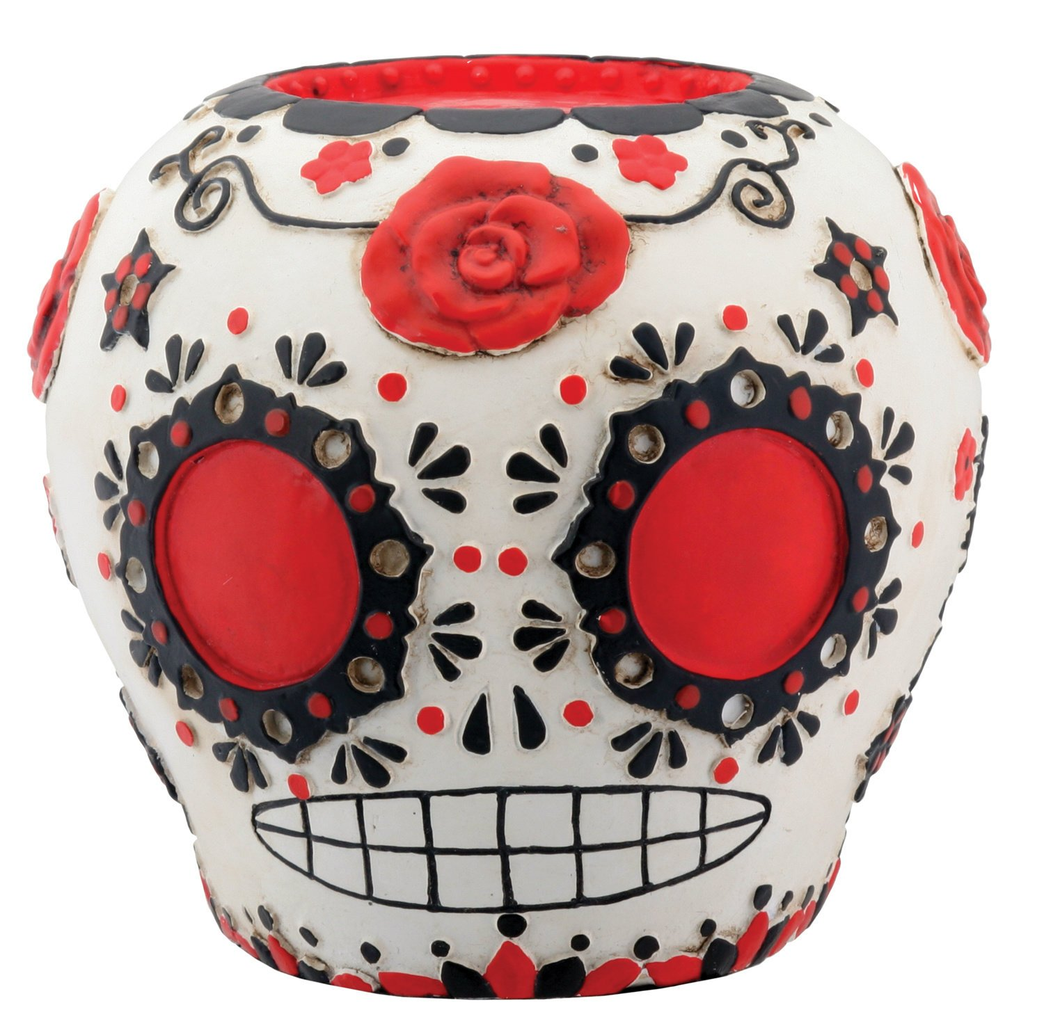 amazoncom day of the dead red sugar skull with floral decoration figurine home u0026 kitchen
