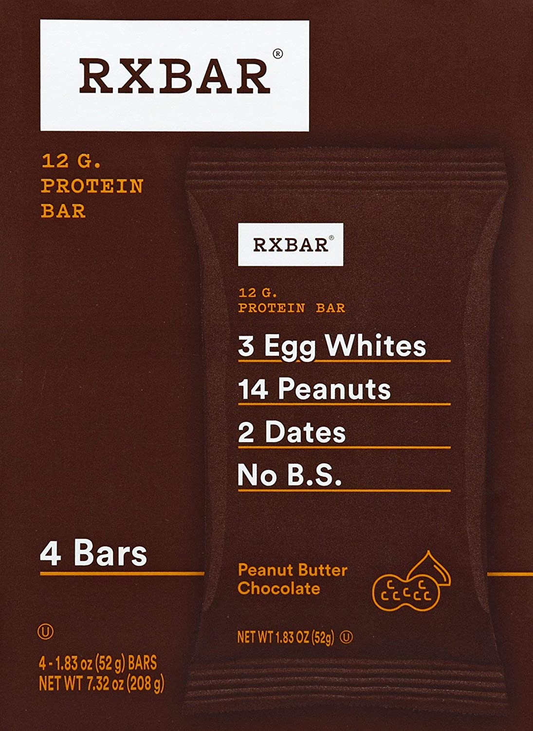 RXBAR Real Food Protein bar, Peanut Butter Chocolate, Gluten Free, 1.83oz Bars, 4Count, 1.83 oz