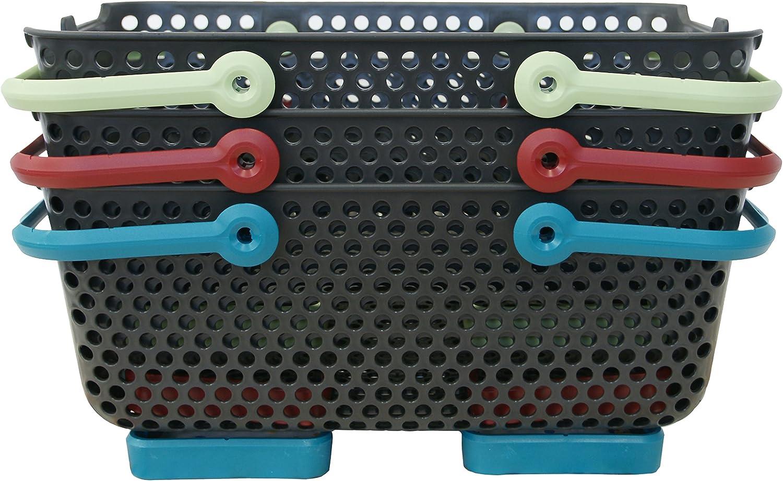 MV INDUSTRIE PV 003 920 Lot de 3 Paniers Plastique Gris//Tilleul// Turquoise//Cerise 48 x 29 x 20 cm