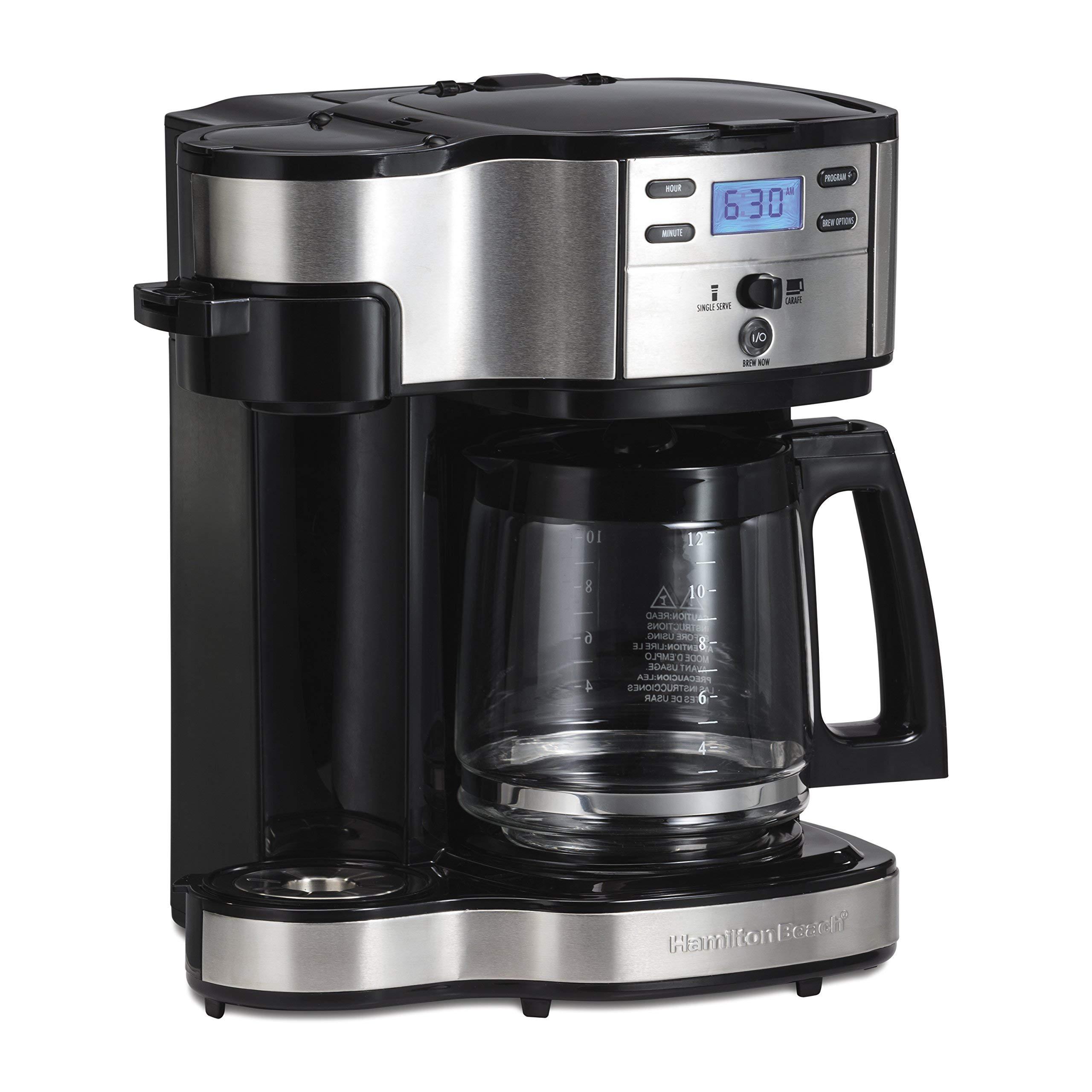 Hamilton Beach (49980A) Single Serve Coffee Maker and Coffee Pot Maker, Programmable, Black/Stainless Steel (Renewed) by Hamilton Beach