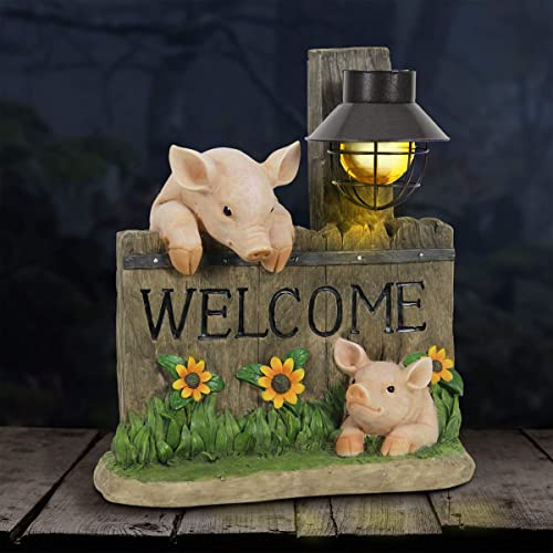 Exhart Pig Statue Pig Welcome Sign w/Solar Decorative Lantern Interior Light